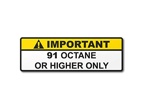 91 Octane or Higher Gas Gasoline Fuel Tank Printed Warning Label Sticker Decal (5)
