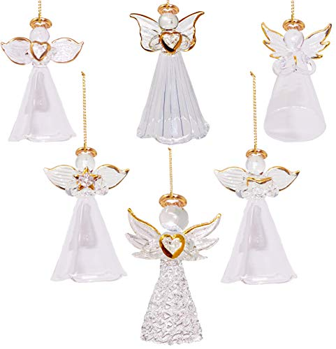 4E's Novelty Glass Angel Ornaments for Christmas Tree (Set of 12) Assortment of 6 Designs - 2.5 Inch Clear Spun Glass Religious Angel