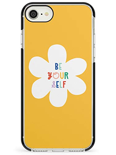 Be Yourself On Yellow Black Impact Impact Phone Case for iPhone 6, for iPhone 6s | Protective Dual Layer Bumper TPU Silikon Cover Pattern Printed | Positive Quote Text Rainbow Colourful