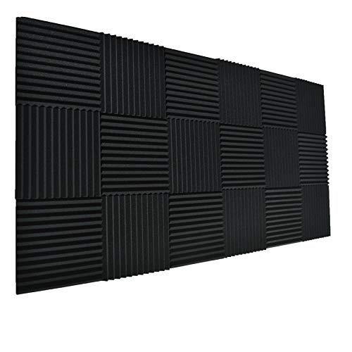 24 paneles negros de pared para absorción de sonido e insonorización para estudio. 24 unidades de color negro y de 2,54 x 30,48 x 30,48 cm