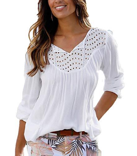 Ailnge Damen Langarm Bluse Elegante Patchwork Langarmshirt Tunika Lochstickerei Bluse V-Ausschnitt Shirts