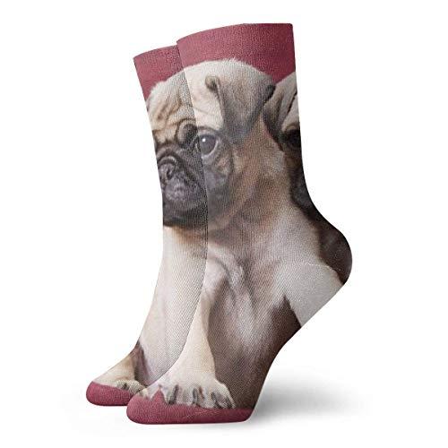Hangdachang Pugs, sofás, mantas, fotografías en color Novedad Navidad Calcetines deportivos informales Calcetines tobilleros deportivos para correr 30 cm