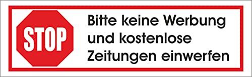 Keine Werbung! 1 weißer Briefkastenaufkleber 70x20 mm- Aufkleber STOP Bitte keine Werbung und kostenlose Zeitungen einwerfen - Aufkleber für den Briefkasten