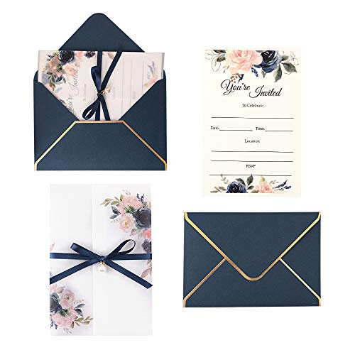 Doris Home 250 GSM 5 x7.3 inch Invitations Cards with Envelopes and Printed Inner Sheets for Bridal Shower Invite, Baby Shower Invitations, Wedding, Rehearsal (Navy Blue)