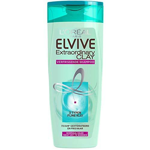 L'Oréal Paris Elvive Extraordinary Clay 250ml Mujeres Champú - Champues (Mujeres, Champú, Cabello normal, 250 ml, Hidratante, Brillo, 72 h)