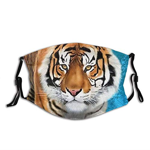 Chinese Style Cool Tiger Bamboo Face Mask with Filter Pocket Washable Reusable Face Bandanas Balaclava with 2 Pcs Filters