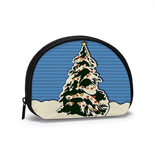 Christmas Greeting Card Xmas Tree Holidays Antler Women Girls Shell Cosmetic Make Up Storage Bag Outdoor Shopping Coins Wallet Organizer