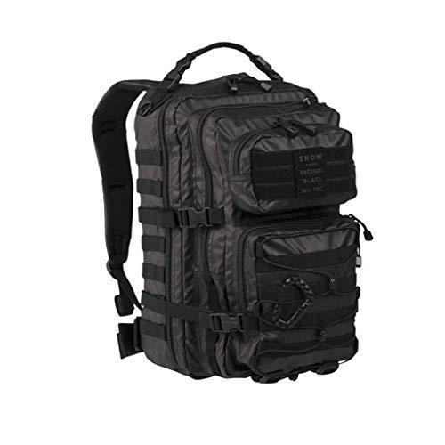 YDS - Mochila de estilo militar, 20 L y 36 L, gran volumen, mochila multifunción, para escuela, trekking senderismo, camping, viajes, pesca, escalada, alpinismo o uso diario, color negro, color Negro