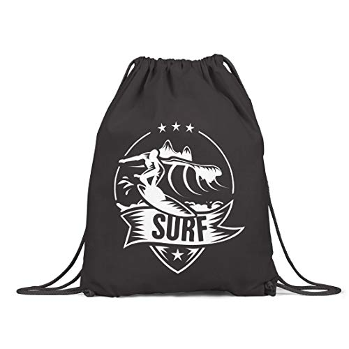 BLAK TEE Surf Logo Badge Organic Cotton Drawstring Gym Bag Black