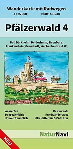 Pfälzerwald 4: Wanderkarte mit Radwegen, Blatt 43-548, 1 : 25 000, Bad Dürkheim, Deidesheim, Eisenberg, Frankenstein, Grünstadt, Wachenheim a.d.W.