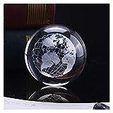 Globo globo globo 60mm 3D bola de cristal en miniatura modelo globo grabado láser cristal artesanía esfera decoración del hogar accesorios regalo ornamento globo suministros educativos