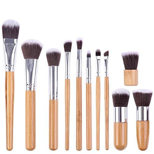 Deanyi Poignées en Bambou 11 Morceaux de pinceaux de Maquillage mélange anticernes Fondation Fard à Joues en Poudre crème Visage Yeux kit Brosse cosmétiques Outils Pratiques Maquillage et Accessoires