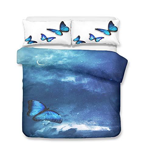 Hiser Juego de Ropa de Cama de 3 Piezas - Juego de Fundas de Edredón - Microfibra de 1 Funda Nórdica y 2 Funda de Almohada - 3D Mariposa Impresión (Mariposa Azul,150x200cm)