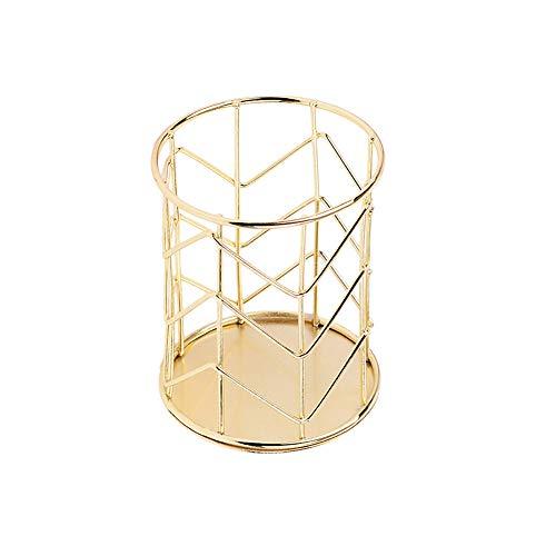 Kentop - Portalápices de metal, organizador de mesa de hierro perforado, lápiz taza de maquillaje (dorado)