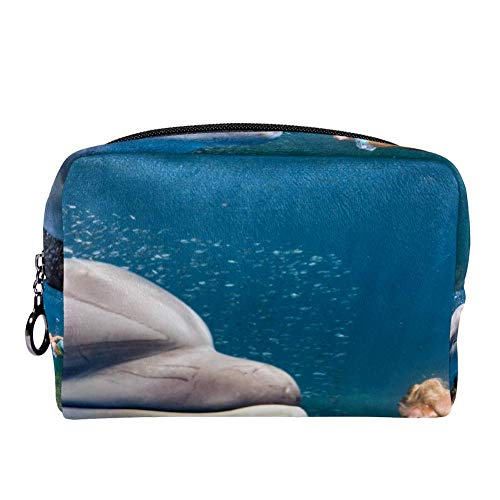 TIZORAX Dolfijn Onderwater Voldoet aan een Blonde Zeemeermin Make-up Bag Toilettas voor Vrouwen Skincare Cosmetische Handy Pouch Rits Handtas