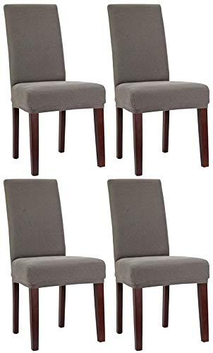 Bellboni Stuhlhussen, strapazierfähige, hochwertige Stuhlbezüge aus starkem Stoff, Stuhlüberzüge, Hussen passend für viele Stuhlgrößen elastisch, bi-Elastic, 4 Pack, Elastic Grey/grau