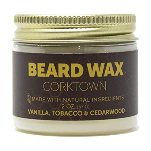 Detroit Grooming Co. Beard Wax - Corktown Scent - Vanilla, Tobacco, and Cedarwood - All Natural, Strong Hold Wax for All Beard and Mustache Shaping Styles - Professional Styling Product (2 oz)