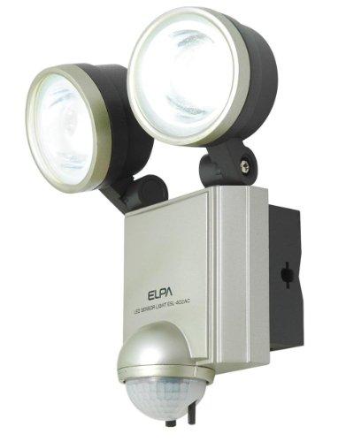 ELPA 屋外用センサーライト AC電源 4wLED 2灯 ESL-402AC