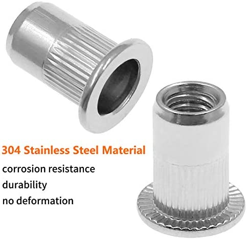 Bonsicoky 60Pcs Metric M4 Rivet Nut Kit 304 Stainless Steel Knurled Flat Head Threaded Insert Blind Rivet Nuts Fastener for Nuts Through Hole