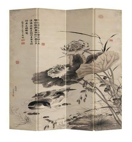 Fine Asianliving Paravent Raumteiler Trennwand Spanische Wand Raumtrenner Sichtschutz Japanisch Orientalisch Chinesisch L160xH180cm Bedruckte Canvas Leinwand Doppelseitig Asiatisch -203-134
