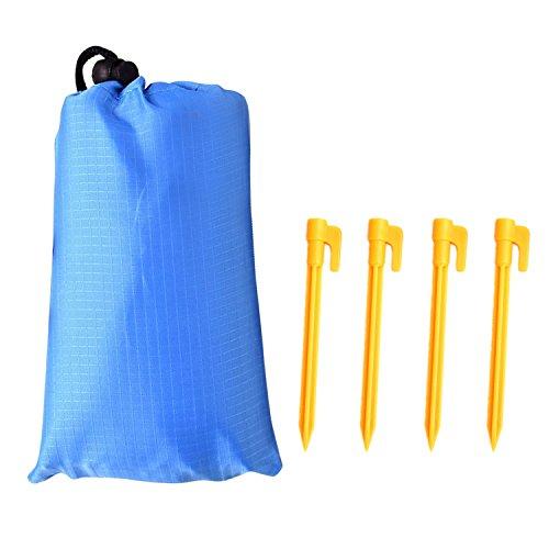 Beetest Tapis Picnic, Couverture de Pique-Nique imperméable Pliable portative avec 4 Chevilles de Tente pour Le Camping en Plein air randonnée Voyage Plage Tapis 1.4x2m Bleu