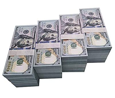 Movie Prop Money Full Print 2 Sided, Play Money One Stack 100 pcs 100 Dollar Bills for Movies,Kids and Party from MF121