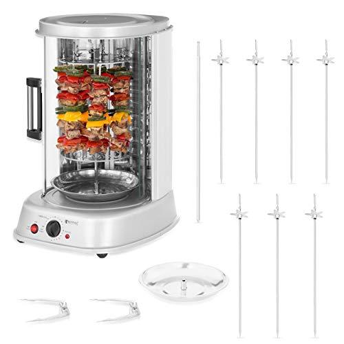 Royal Catering Rôtissoire Verticale Machine À Kébab Poulet Électrique Appareil Mini Machine Grill Rotatif RCGV-1800-1 (3-en-1, 1 800 W, 160 °C max, Minuterie 90 min, Nombreux Accessoires)