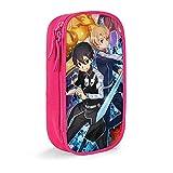 Hirola Sword Art Online Anime - Estuche para lápices de gran capacidad, bolsa de papelería, caja de papelería multifunción, adecuado para hombres jóvenes y mujeres, color rosa