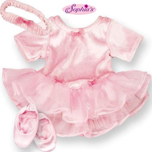 15 Inch Baby Doll Outfit Pink Ballet 3 Pc. Clothes Outfit by Sophias, Fits 15 Inch American Girl Bitty Baby Dolls| Soft Velour, Chiffon & Tulle Pink Baby Doll Ballet Dress Set
