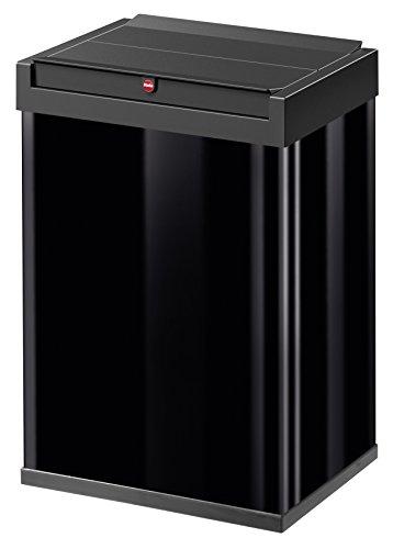 Hailo Big-Box Swing L Mülleimer | 1 x 35 Liter | selbstschließender Schwingdeckel | Stahlblech | Müllbeutel-Klemmrahmen | Mülleimer Küche rechteckig | Abfalleimer made in Germany | schwarz