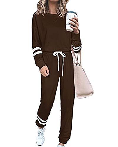 CALHOUN Chándal para mujer de manga larga, chándal informal, chándal, camiseta y pantalones. marrón XL