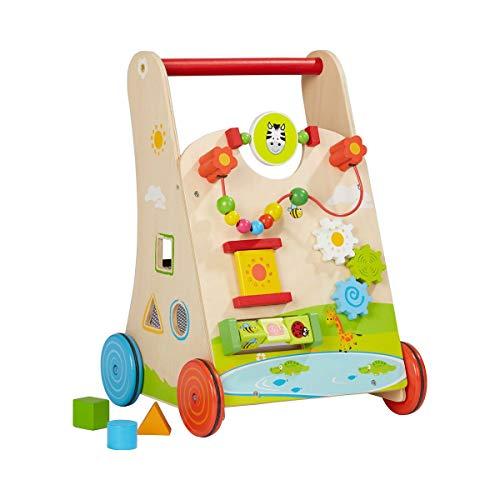 Solini Lauflernwagen aus Holz - Baby Lauflernhilfe mit Motorikschleife & Drehspiel - Holzspielzeug für Kinder ab 18 Monate - natur/bunt