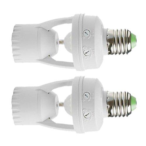 MagiDeal Soportes de Lámpara de Enchufe de Bombilla LED Automáticos Inteligentes de 2 Piezas con Sensor de Movimiento Infrarrojo PIR, Adaptador de Base de Torn