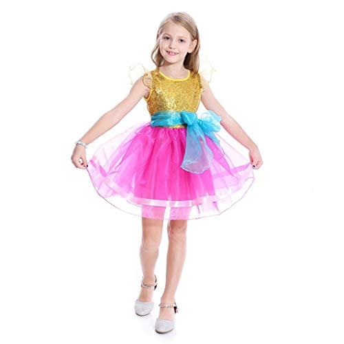Lito Angels Disfraz de Nancy para niñas pequeñas, disfraz de Halloween, para fiesta de cumpleaños, de 7 a 8 años, color rosa