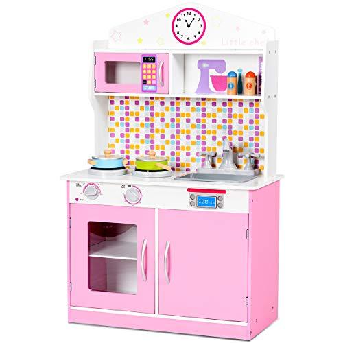 COSTWAY Kinderküche Holz, Spielküche für Kinder, Holzküche Kinderspielküche, Spielzeugküche mit Mikrowelle, Spüle, Wasserhahn, Herd, Schaltknöpfe, 57 x 28 x 95,5cm (rosa)