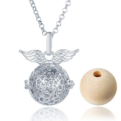 Potter Star Snitch Diffuser Necklace Essential Oil Wooden Beads Aromatherapy Pendant Necklace for women girl (White gold)
