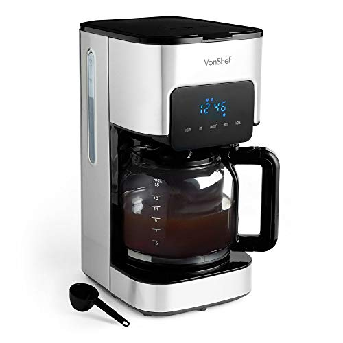 VonShef Filter Coffee Machine, 1.5L Capacity Electric, Digital, Stainless Steel Coffee Maker for Up to 12 Cups, Programmable 24hr Timer with LCD Display, Reusable, Washable Filter ? Black & Silver