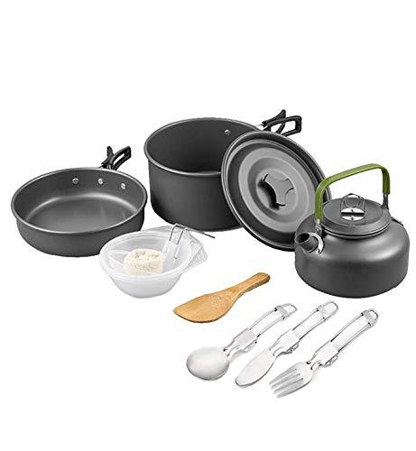 Camping Utensilios de cocina Set Tazón y cuchara de madera, excursionismo al aire libre Picnic No-Stick Cocina Mochila con cuchillo y tenedor plegable Set para el senderismo Pesca de picnic,Black