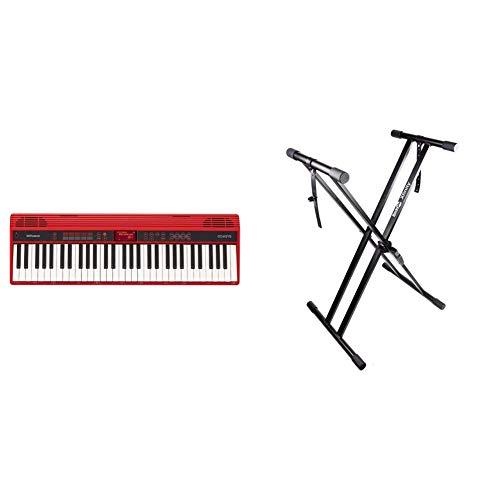 Roland GO:KEYS Piano Keyboard (GO-61K) & RockJam Xfinity Heavy-Duty, Double-X, Pre-Assembled, Infinitely Adjustable Piano Keyboard Stand with Locking Straps