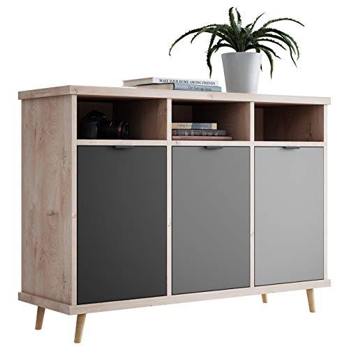 NEWFURN Kommode Grau Eiche Hirnholz Sideboard Modern Vintage - 120x88x40 cm (BxHxT) - Highboard Anrichte - [Conni.three] Wohnzimmer Schlafzimmer Flur Esszimmer