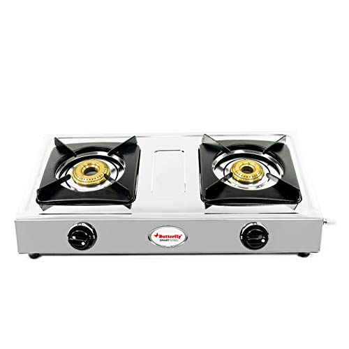 Butterfly Smart Stainless Steel 2 Burner Gas Stove, Manual Ignition, Sliver