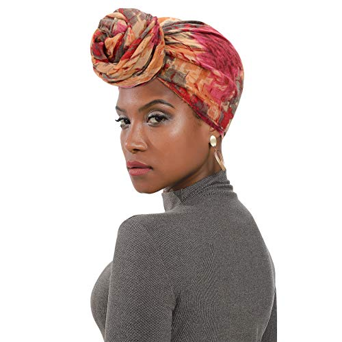 Womens Head Wraps Turban African Pattern Hair Wraps Scarf Headbands Fashion Caps for Women Wine Red