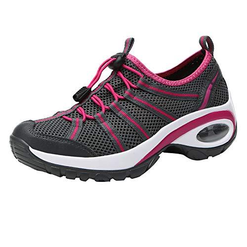 MYMYG Damen Turnschuhe Modische Freizeit Mesh tragen beständige Schnürschuhe rutschfeste Sportschuhe Flache Winterschuhe Trekkingschuhe Laufen Wandern