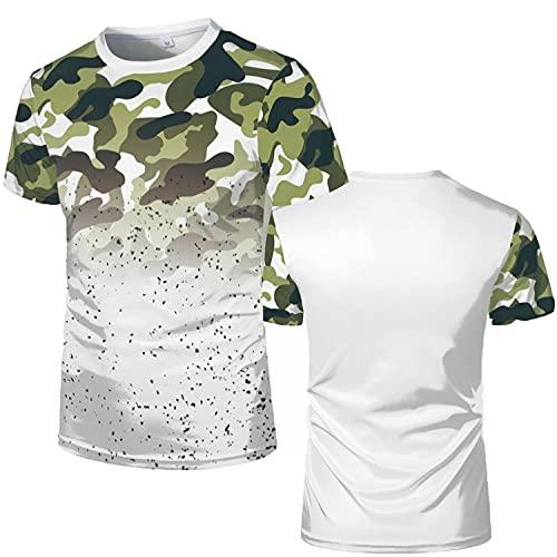 Camiseta de Moda para Hombre, Novedad de Verano, Rojo, Blanco y Negro, Camuflaje, Camiseta con Estampado 3D