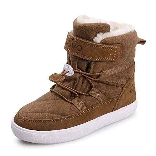 UOVO Kids Boys Winter Snow Boots Shoes Waterproof Ankle Fur Lined Sneaker Boots Outdoor Sport Little Boys Boots (3 M US Little Kid,Brown-Fur)