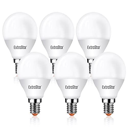 ExtraStar LED Globo bombilla E14 G45 6W Luz fria 6500k 6 unidades [Clase de eficiencia energética A+]