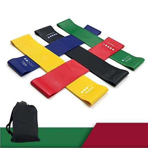 UlikeLF Resistance Loops 9 inch Heavy Duty Exercise Bands, Set of 5 Workout Band with Carry Bay for Yoga, Stretching, Home Fitness, Physical Therapy
