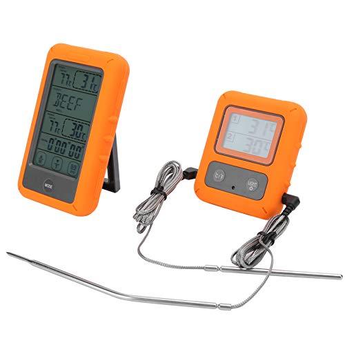 03 Lebensmittelthermometer, LCD-Thermometer, kabelloses, rutschfestes Wasserdicht für Küchenfleisch-Grillhaus