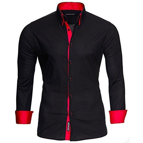 Reslad Herren Hemden bügelfreies Slim Fit Freizeithemd Männer Hemd Businesshemd zweifarbig 2 Kragen RS-7050 Schwarz Rot Gr L