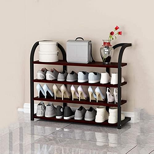 YF-SURINA Rack de Zapatos Gabinete de Zapatería de Alenamiento de Hierro de 4 Capas Hogar Zapato de Madera Estante de Zapatos Fanjiani,Marrón Rojizo,90 cm